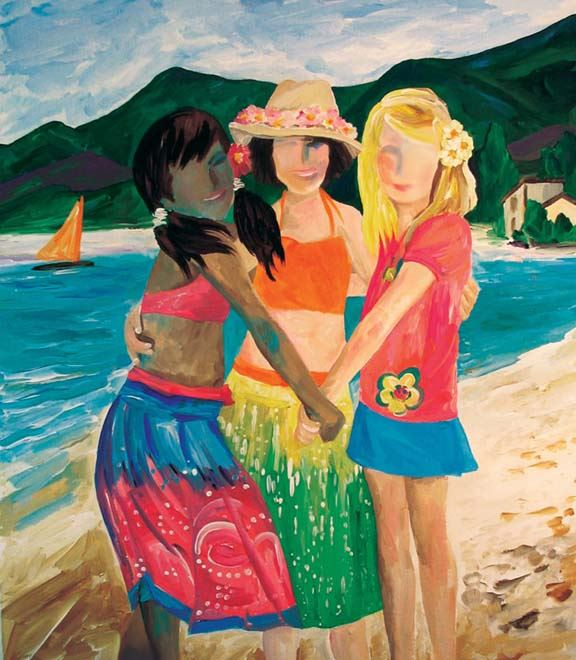 Three Girls at Beach by Rita Zawislak-Brandt